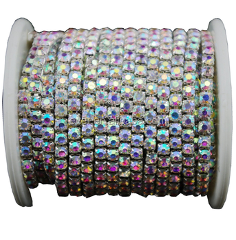 High quality crystal rhinestone cup chain in roll SS6.5