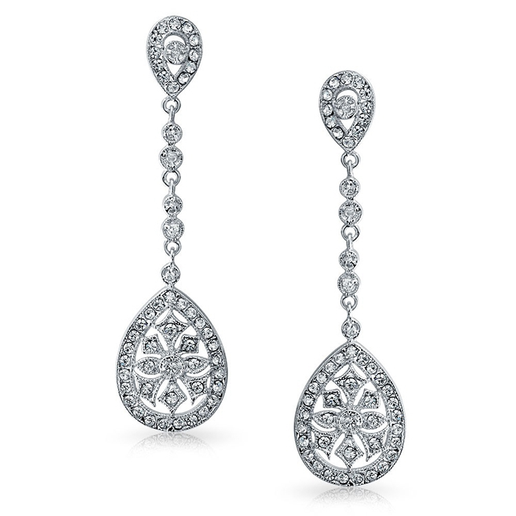 crystal long drop cubic zirconia stud earrings
