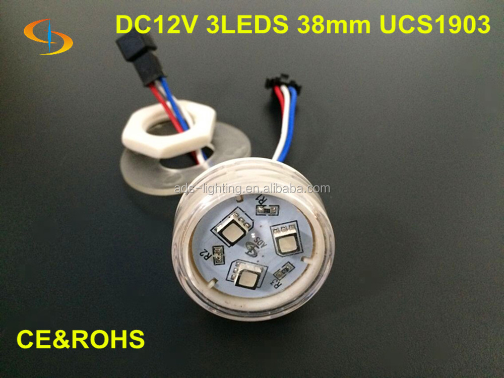Programmable Addressable smd 5050 Full Color 3 LED 38mm Rgb Led Lights dc12v For Amusement Rides With Lock Ring