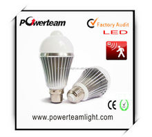 powerteam lighting 5w 6W 7W 110-240V enery saving pir motion sensor bulb