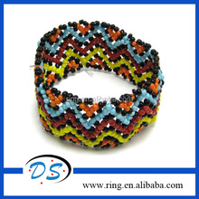 Multicolor Wave Pattern Glass Seed Bead Stretch Bracelet