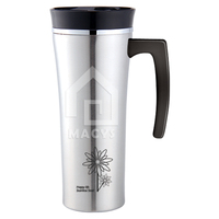 16oz stainless steel travel mug with handle, thermos function
