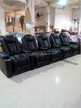 HT023 Home theater chair, VIP black cow leather electric cinema sofa