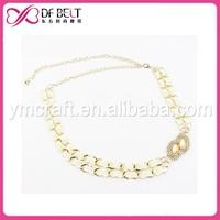 Ladies double gold metal waist chain belt with gimp