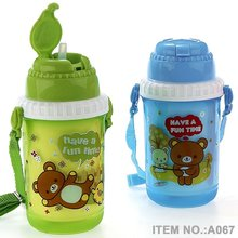 A067 300-500ml children plastic water for kids drinking bottle with straw shantou shuanghuan viassin water bottle