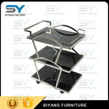Stainless Steel commercial quality 2-4 layers square tube dining food serving trolley cart for hotel