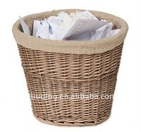 factory supply brown round wicker waste paper basket with liner for wholesale