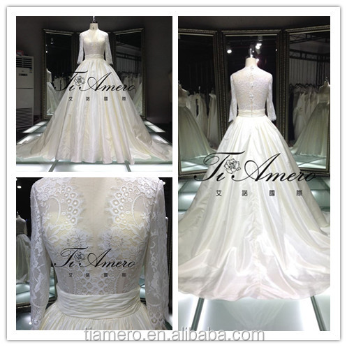 THX7612 Transparent High Neck 3/4 Sleeve Lace Wedding Dress Ball Gown