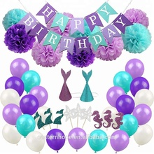 EasternHope 76pcs Mermaid Party Supplies, Baby Shower Party Decorations for Girls Birthday