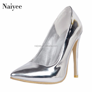 2018 Hot sexy sliver high heel party wear pointed toe women pumps