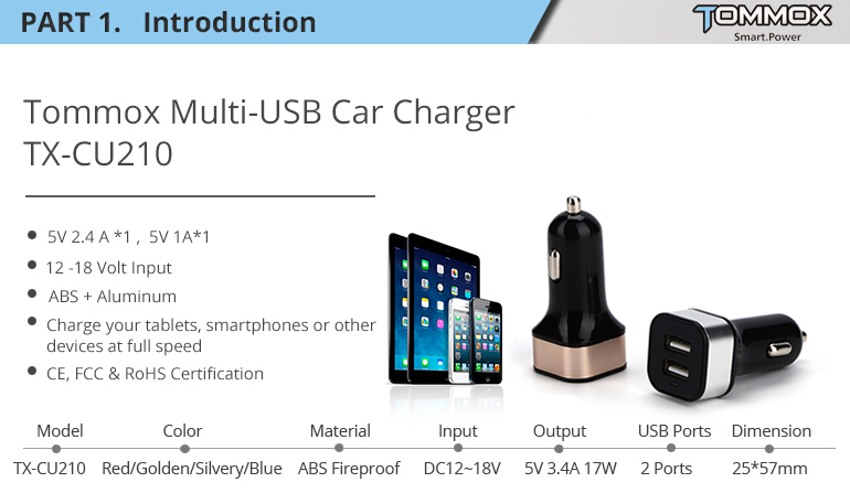 5V 4.8A 24W 10 colors multiple mobile phone usb car charger