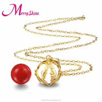 Wholesale Fashion Jewelry Gold Face Bola Cage with Chime Ball Mexican Bola Ball for Angel Baby Harmony Musical Bola K117G