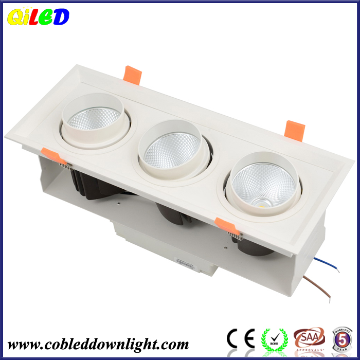 Citizen cob chip and Lifud driver Grille Lamp Lighting Fixture Ceiling Light 25W Three Head LED Grille Lamp Bean Pot Light