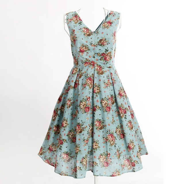 2016 American style floral printed clothing vintage retro ball gowns rockabilly dress