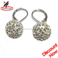 wholesale cheap crystal clay ball fashion shamballa earring findings