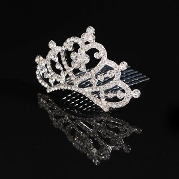 Women Lady Wedding Bride Party Rhinestone Crystal Crown Tiara Hair Comb