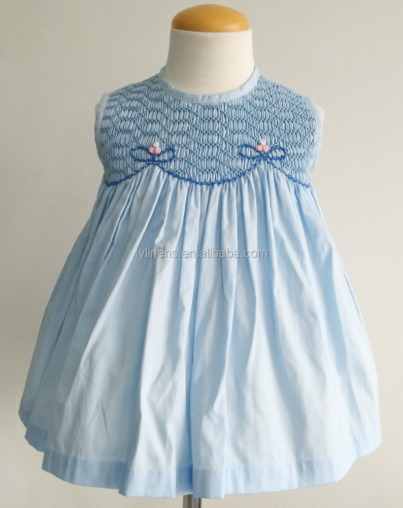 100% cotton children wholesale hand smocked embroidered dresses