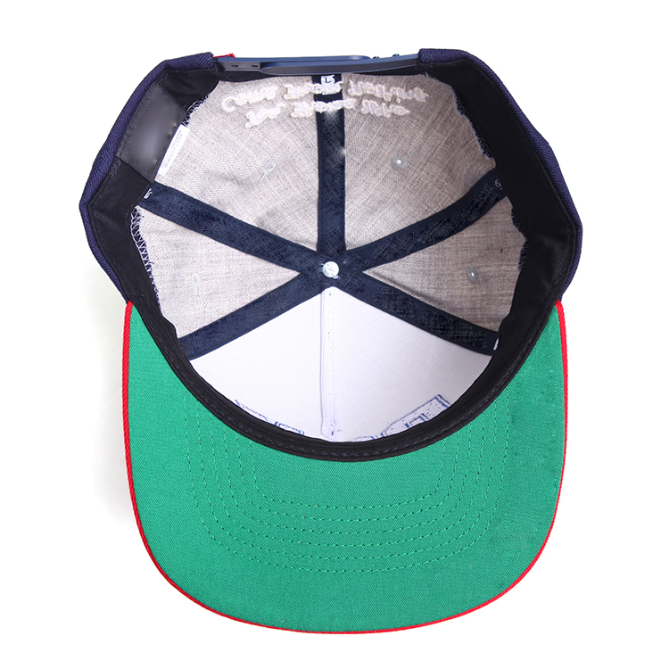 Custom 100% Cotton Flat Embroidery Snapback Caps Wholesale