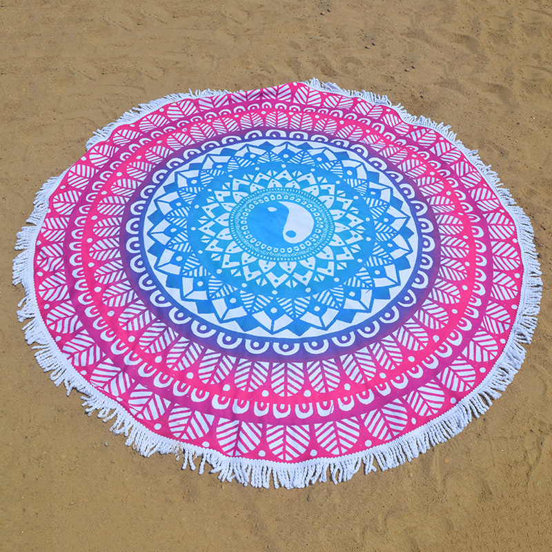 China Supplier Textile Turkish Velour Cotton Round Beach Towel High Quality