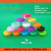 50pcs/lot 3g hydrating lip cream container ,acrylic display jar , colorful plastic container small lids eye cream jars