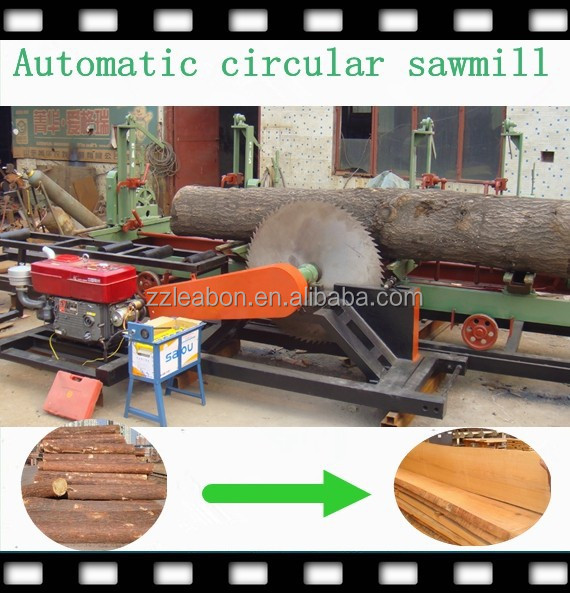 Diesel or electric engine circular portable sawmill machine
