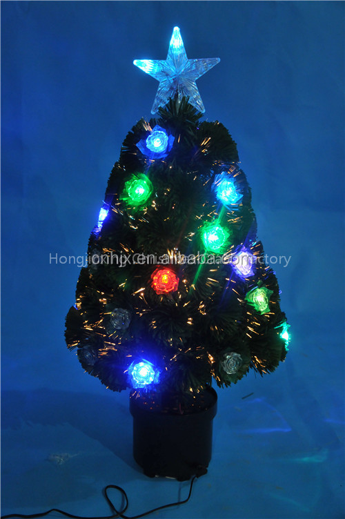CBRL Flower Decorated Fiber Optic Christmas Tree, Color Lighting Led Christmas Tree, Table Artificial Tree