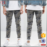 Latest fashion skinny jeans for men stretch denim camo jeans