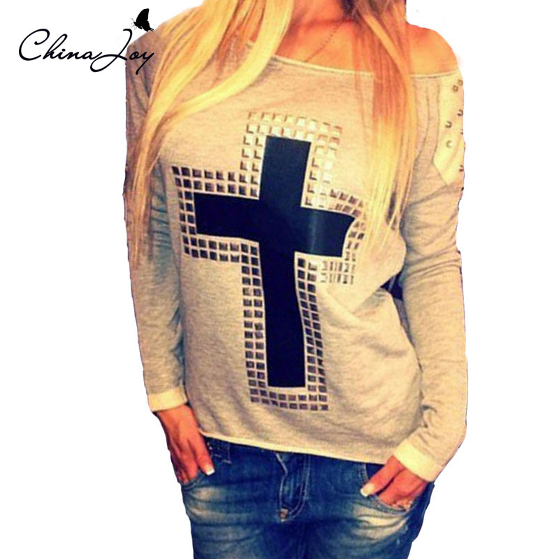 Women Long Sleeve Autumn Tshits 2015 Rivet Cross Shirts Loose Big size Tops Casual O-neck Blouses Plus Size S/4XL Poleras Mujer