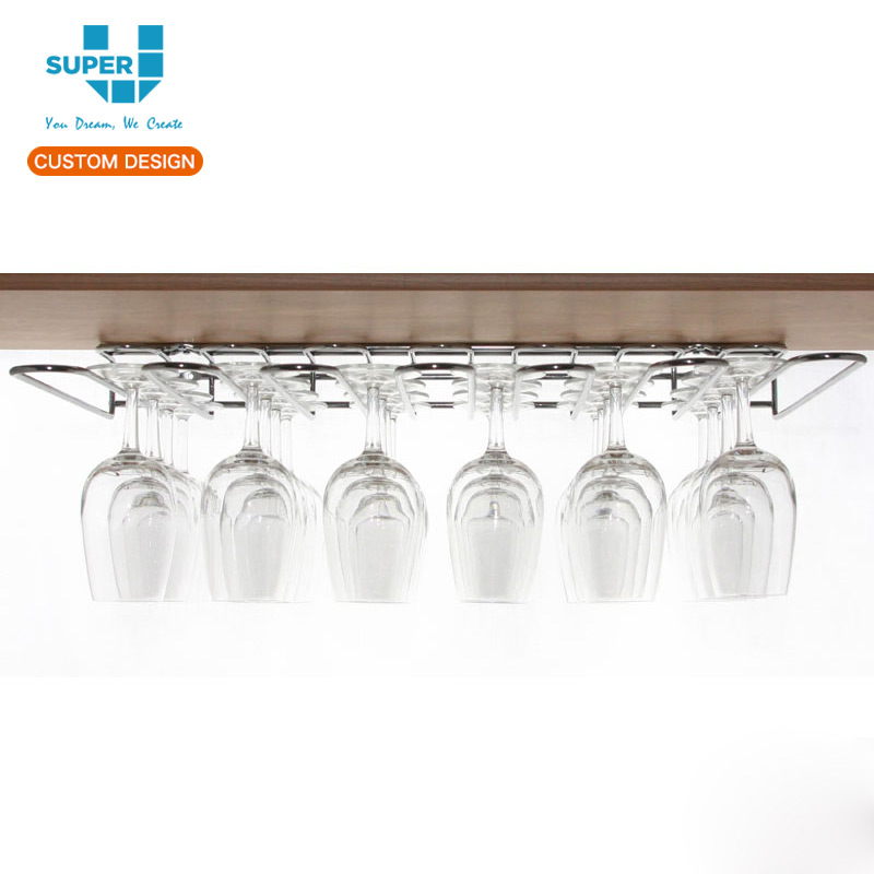 Alibaba China Wholesale Factory Supplies Pubs Equipments Wine Glass Hanging Metal Display Rack