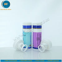 Empty OEM plastic vitamin b12 tablet bottle with spring cover and unrivalled offset printing made in GMP plant