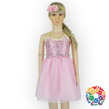 2016 boutique girls childrens dresses pink sequin tulle girls wedding flower net dresses
