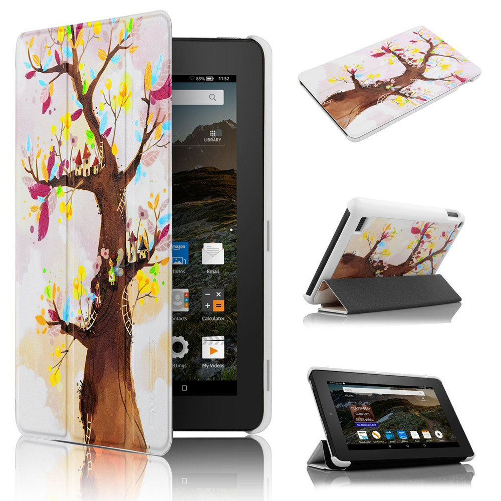 "Ultra Slim PU Leather Magnetic Case Cover for Amazon Kindle Fire 7 Inch 7"" Tablet love tree case"