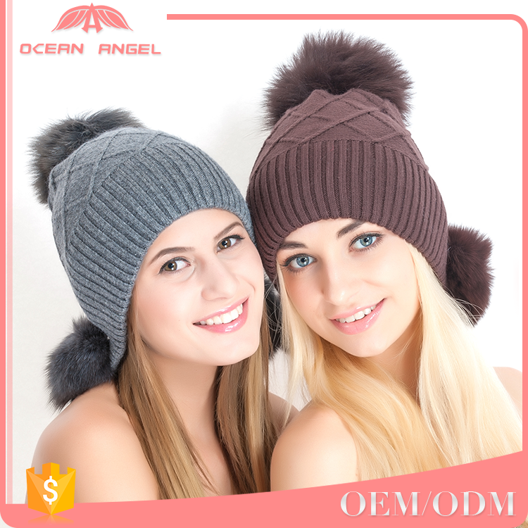Free sample OEM/ODM selling pom pom winter hat women fur ball knitting beanie