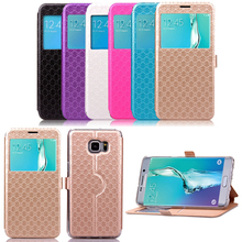 Diamond texture flip cover leather phone case for samsung galaxy s6 edge plus G9280, with card slot and stand function