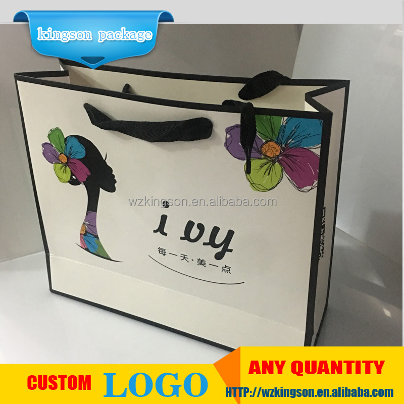 Recyclable Luxury Style Shopping White Paper Bag, Custom Logo Printed Craft White Paper Bag
