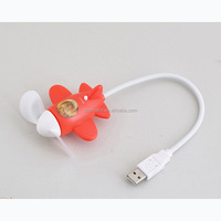 Strong Wind Portable USB Fan Soft Blade Airplane Shape USB Small Fan Electrical Gadget PC Accessories