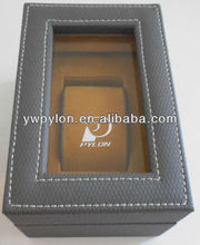 grey leather watch box with pvc showcase