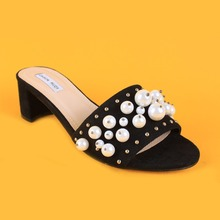 girls black suede stud heeled slippers ladies open toe wide slippers with diamonds