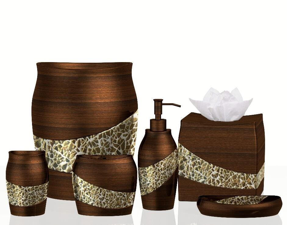 Luxury Mosaic Glass Bronze 6 pcs Resin Bathroom Accessory Sets