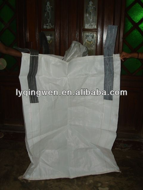 PP jumbo bag for packing chemcial material,black lifting loops,double warps fabric