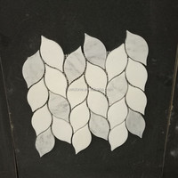 High quality imported leaf shaped water jet marble mosaic tile polished cheap
