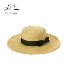 Wholesale raffia straw hat straw boater hats cheap with bowknot