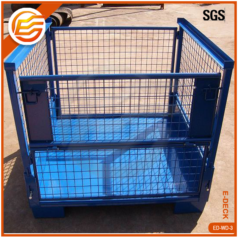 Stackable Steel Galvanized Metal Wire Mesh Storage Pallet Cages