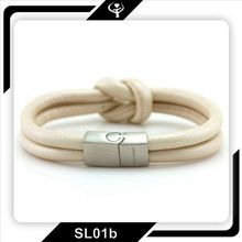 Top quality sheepskin leather bracelet with stainless steel magnetic snap