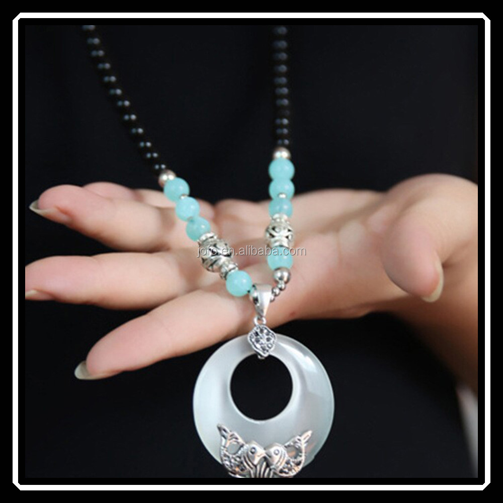 New Arrival Fashion Style Handmade Long Black Bead Chain Opal Pendant Necklace HHJ0009