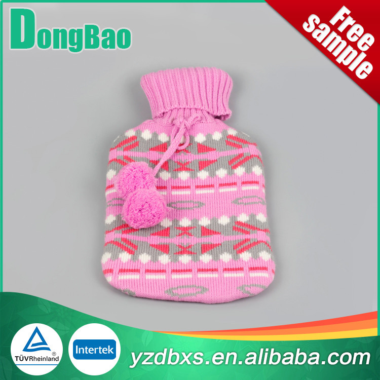 standard natural rubber hot water bottle with pink shining knitted cover