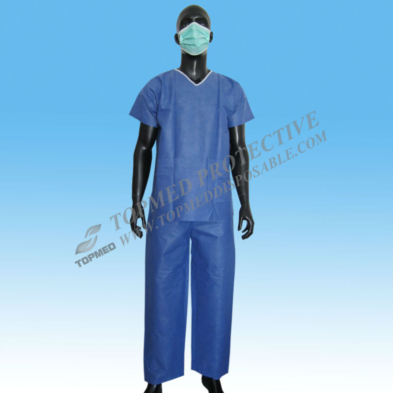 Nonwoven SMS Disposable Medical Uniform Scrub Suits for Doctor and Nurse