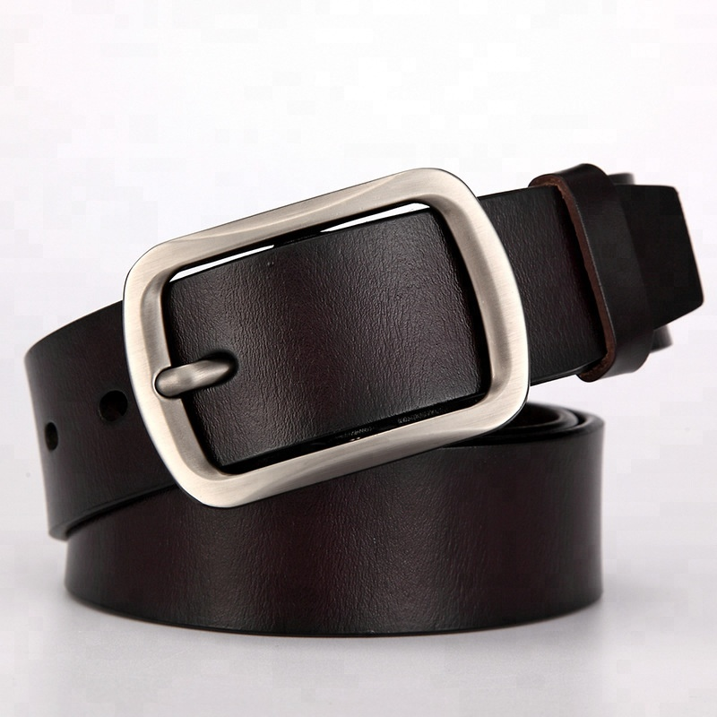 Men's Fashion High Quality Sliver Buckle Genuine Leather <strong>Belt</strong>