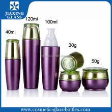 Purple Color Glass Bottle Logo Printing Gold Glass Bottles Cosmetic Bottles and Jars Coating