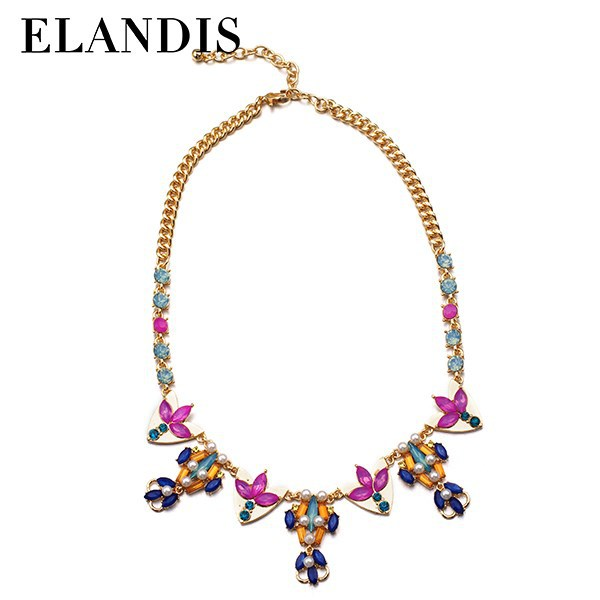E-ELANDIS Fahion Gold Layered Simulated Pearl Necklace